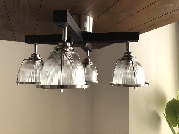 DINER-CROSS(ダイナークロス)リモコン付き 4灯ガラスシーリングライト