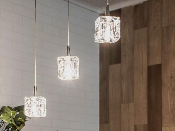 CUBE(キューブ)3灯LEDガラスランプ(クリア)
