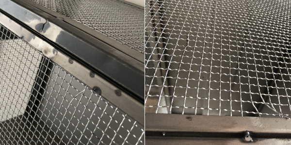 完成品 ヴィンテージデザイン アイアン3段メッシュキャビネット(アンティークシルバー)
